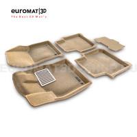 Текстильные 3D коврики Euromat3D Lux в салон для Skoda Kodiaq (2017-) № EM3D-004512T Бежевые