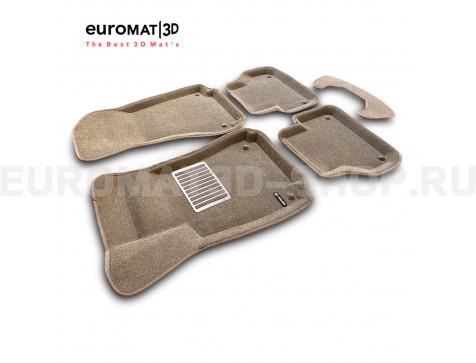 Текстильные 3D коврики Euromat3D Lux в салон для Audi A4 (2016-) № EM3D-001102T Бежевые